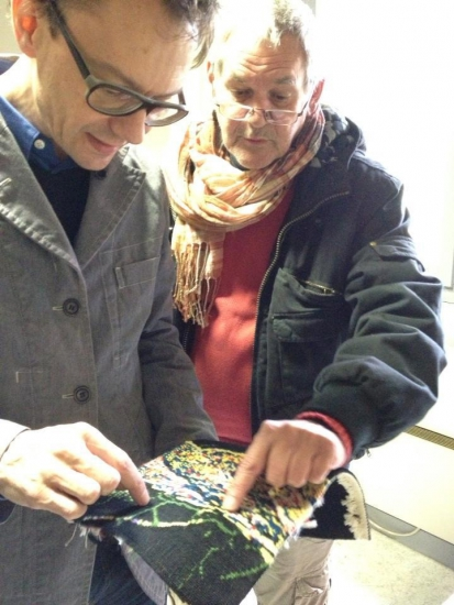 Mathieu Mercier discussing the weaving technique with Daniel Bayle, weaver for Legoueix workshop