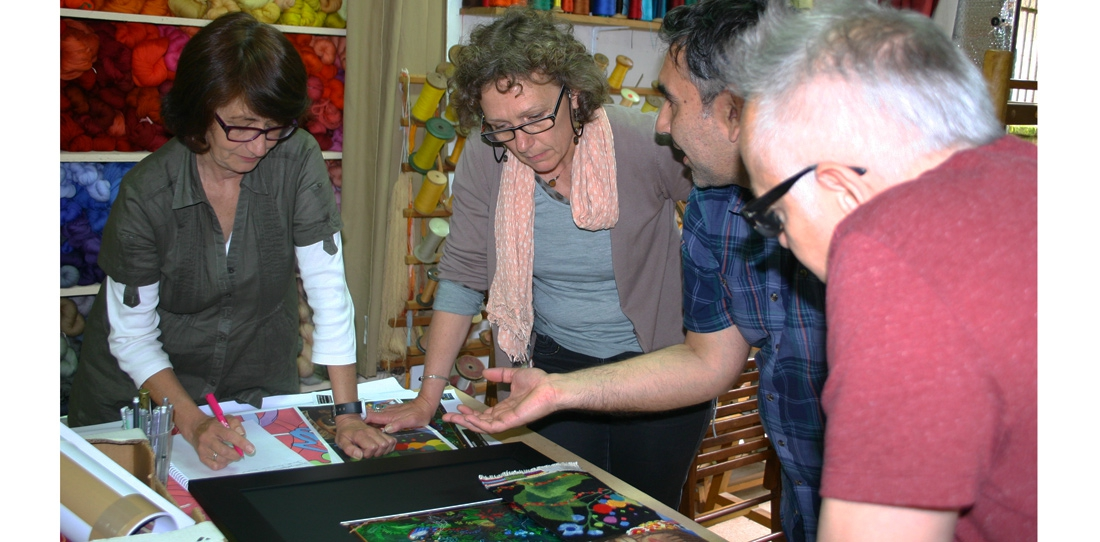 At the A2 workshop (Aubusson), working on the woven adaptation of Chiachio and Giannone's work