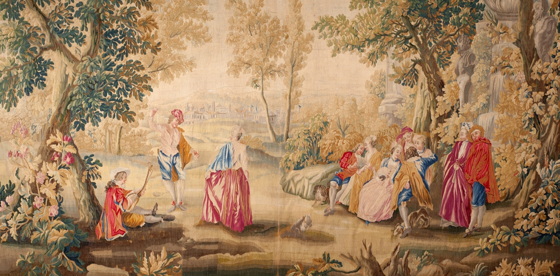 Les Plaisirs du bal (detail), one of five tapestries by Watteau, XVIIIth century