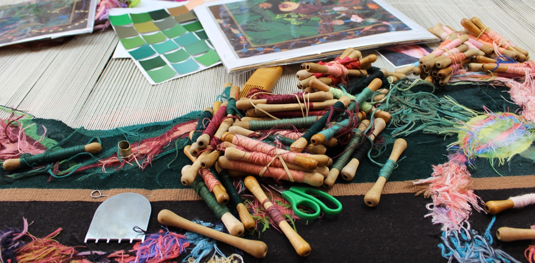 Weaving in progress at the A2 workshop (2015):