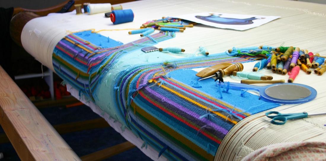 Confluentia, weavin in progress at Françoise Vernaudon's workshop