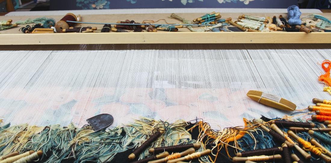 Nouvelles verdures d'Aubusson, Goliath Dyèvre & Quentin Vaulot, weaving in progress of the third tapestry at the workshop 'Atelier de la Lune'