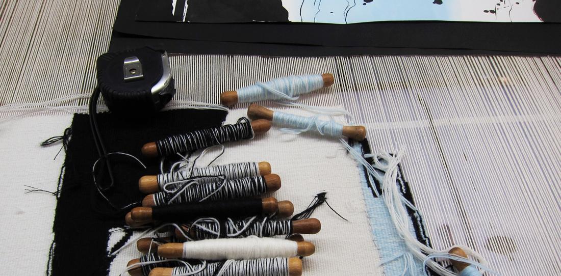 La Rivière au bord de l'eau, weaving under process, Bernard Battu workshop, june 2011