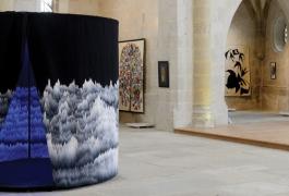 Panoramique polyphonique, d'après Cécile Le Talec, Grand Prix 2011 de la Cité de la tapisserie, tissage Atelier A2. Exposition