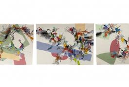 Blink # 0, triptyque, Benjamin Hochart, deuxième prix 2010, tissage Ateliers Pinton, 2011-2012